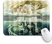 MISCERY マウスパッド ドラゴンの幻想的な装飾 高級感 おしゃれ 防水 端ステッチ 耐久性が良い 滑らかな表面 滑り止めゴム底 24cmx20cm
