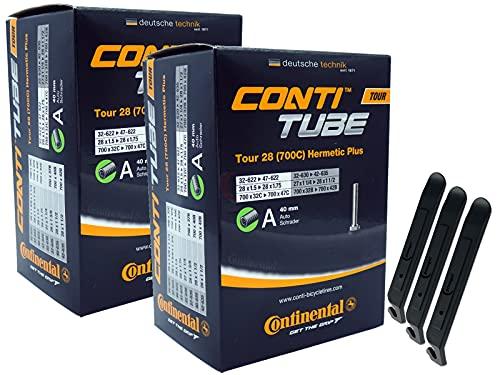 pneugo! Continental 32-622/47-622 Tour Hermetic Plus - Juego de 2 cámaras de aire para bicicleta (28', con válvula para coche, 3 desmontadores de neumáticos)