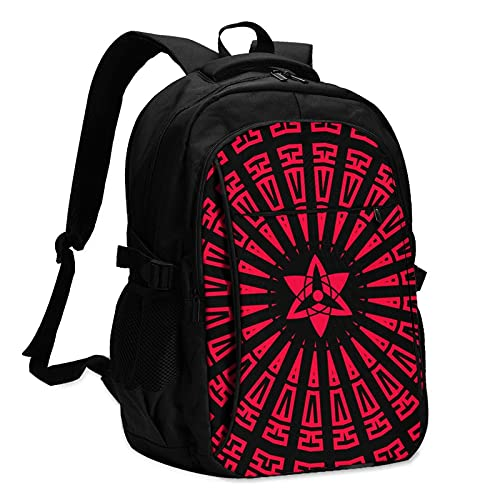 Naruto Uchiha Sharingan Travel Anti Theft 13-16 inch Laptop Backpack with USB Charging Port and Headset Interface Multipurpose Large Capacity for Everyone