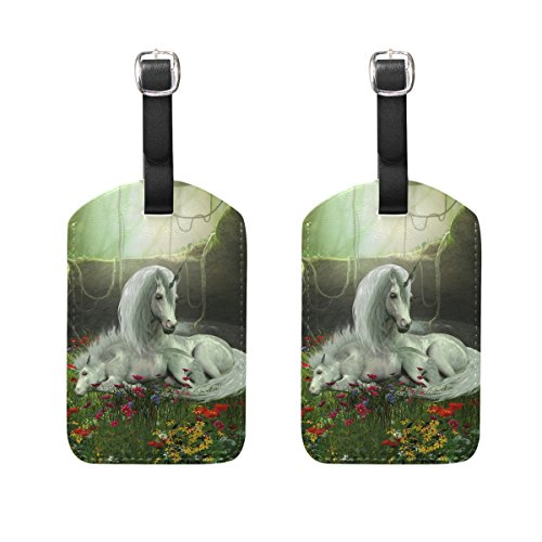 COOSUN Unicorn Mare And Foal Luggage Tags Travel Labels Tag Name Card Holder for Baggage Suitcase Bag Backpacks, 2 PCS