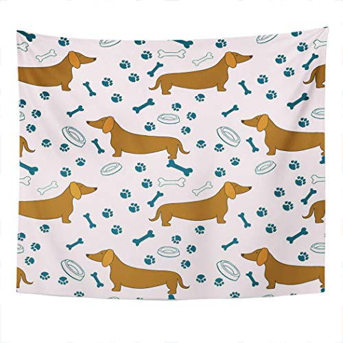 Xrknvf Tapestry Cartoon Dachshunds Bones Paw Prints Bowls Not Easy to Deform Comfortable and Environmentally Friendly Suitable for Bedroom Living Room Decoration 60x80 Inches