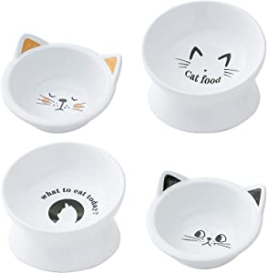 Raised Cat Food and Water Bowl Set of 4,Tilted Elevated Cat Food Bowls,Ceramic Double Cat Dishes, Pet Bowl for Cats and Kitten,Protect Pet's Spine,White