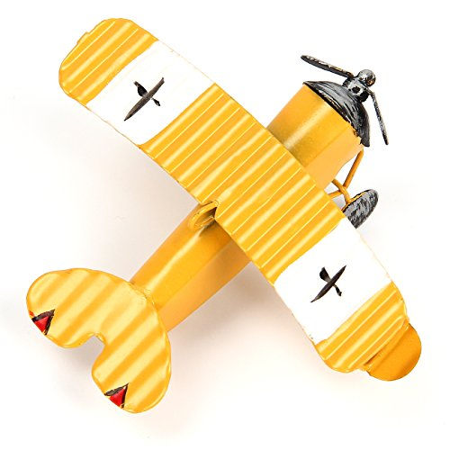 Evilatat Vintage Flugzeug Modell Eisenmodell Metall Flugzeug-Dekoration Doppeldecker Flugzeug Miniatur Dekoration Sammlung Büro Ornament Gelb