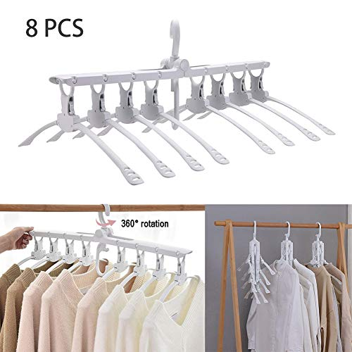 Yvetti 8Pcs Clothes Hangers Collapsible Folding Space Saving Trousers Jeans Scarf Hanging for Closet Wardrobe Closet Organization White