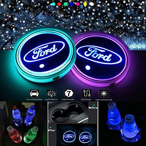 J.MOSUYA LED Getränkehalter Auto Untersetzer 7 Farben USB Lade Becherhalter Lumineszenz Tasse Halter LED innenbeleuchtung Auto Atmosphäre Lampe Dekoration Licht,F
