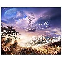 5DDiyダイヤモンド絵画帆船の風景ダイヤモンド刺繍の風景クロスステッチキットピース型ラインストーンクリスマス50x40cm