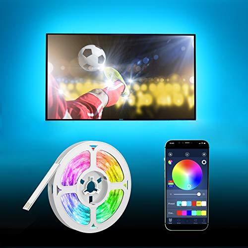 Tiras LED TV 5m, HEERTTOGO USB Luces LED RGB Retroiluminación con Control App, Sincronización de Música Bluetooth, para Habitacion, Hogar, Bar, Fiesta, Restaurante