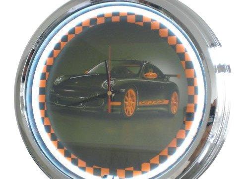 Neon Uhr Porsche GT3 Wanduhr Deko-Uhr Leuchtuhr USA 50's Style Retro Uhr Neonuhr