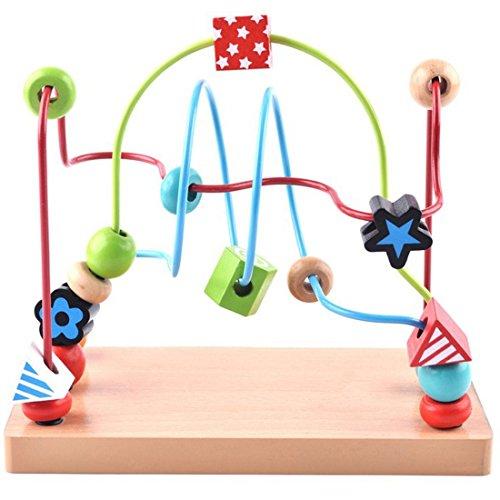 Foxom Circuits de motricité, Grande Perles en Bois Beads Toy en Fil Baby Kids Early Development and Education Toy