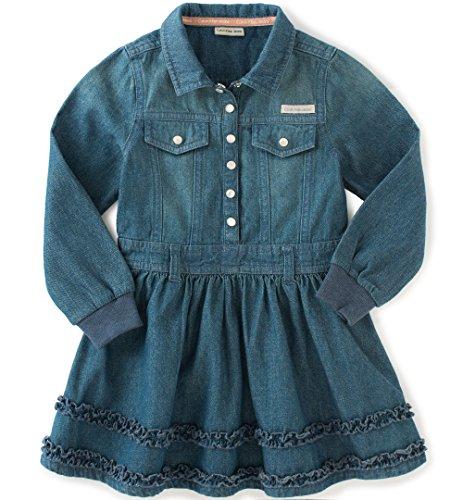 Calvin Klein Baby Girls' Long Sleeve Denim Dress and Panty, Dark Wash, 24 Months