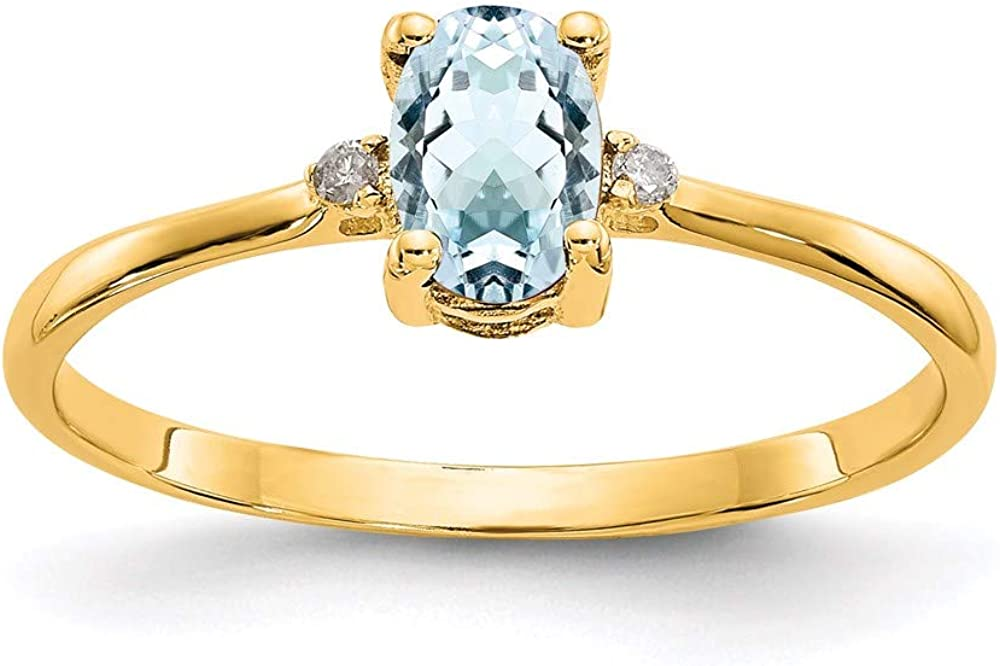 14k Yellow Gold Diamond Blue Aquamarine Birthstone Band Ring Size 6.00 March Oval Fine Jewelry For Women Gifts For Her