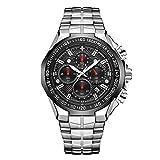 RORIOS Moda Hombre Relojes Analógico Cuarzo Reloj Cronógrafo Luminoso Reloj con Fecha Calendario Ace...