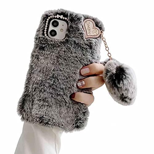 Nadoli pour iPhone 13 Mini Peluche Velu Coque,Mignonne l'hiver Chauffer Fait Main Doux Fourrure Antichoc Silicone Housse Étui avec Amour Cœur Forme Pendentif