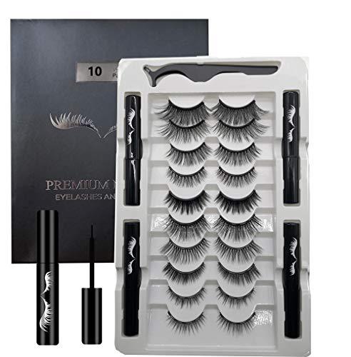 Magnetische Wimpern,Magnetic Lashes mit Eyeliner Set,10 Paar magnetische Wimpern 4 Tuben magnetischem Eyeliner, bester magnetischer für Kit Make-up-Wimpernverlängerung