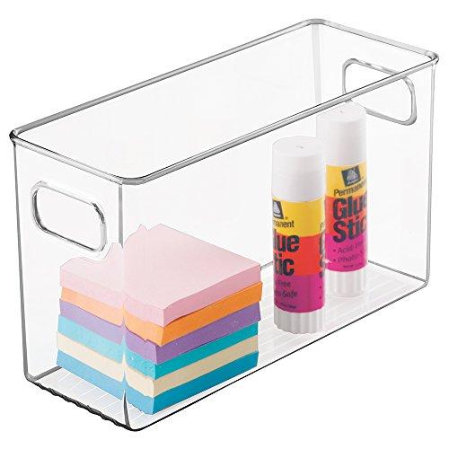 mDesign Organizer per scrivania con manici – struttura portatile per organizzare la scrivania in plastica – Portaoggetti per ufficio e cassetti – trasparente