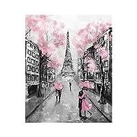 抽象的なロンドンストリート風景油絵キャンバスポスターとプリントリビングルームの家の装飾のためのロマンチックな壁のアートの写真 (Color : MH5556, Size (Inch) : 30X40cm No Frame)