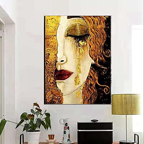 HGUT Stampa su tela con immagine di Gustav Klimt lacrime dorate e bacio olio poster e stampe artistiche da parete per soggiorno, moderna decorazione della casa senza cornice (40 x 60 cm)