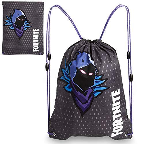 Fortnite Bolsa con cordón, bolsas de natación para niños, mochila con cordón para gimnasio, para la escuela, camuflaje bolsa de gimnasio para niños o adultos,regalo para adolescentes, negro/gris
