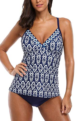 ATTRACO Two Piece Swimsuits V-Neck Tankini for Women Adjustable Swimwear Navy Large