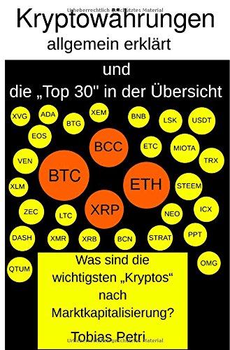 """Kryptowährungen allgemein erklärt und die """"Top 30 in der Übersicht: Was sind die wichtigsten """"Kryptos"""" nach Marktkapitalisierung?"""