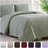 Mellanni Bedspread Coverlet Set Olive-Green - Comforter Bedding Cover - Oversized 3-Piece Quilt Set (King/Cal King, Olive Green)