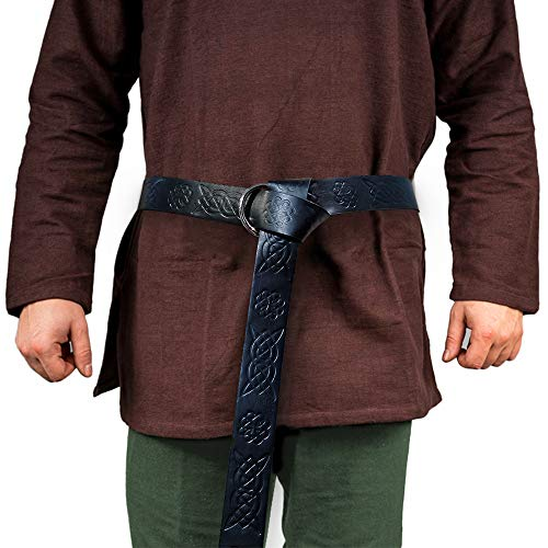 HiiFeuer Medieval Embossed PU Leather O Ring Belt, Retro Renaissance Knight Belt (Black B)