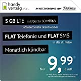 handyvertrag.de LTE All 5 GB – mensual (Internet Plano 5 GB LTE con máx. 50 Mbit/s, con Datos desactivables, teléfono Plano, SMS Planos y Fuera de la UE, 9,99 Euros/Mes.