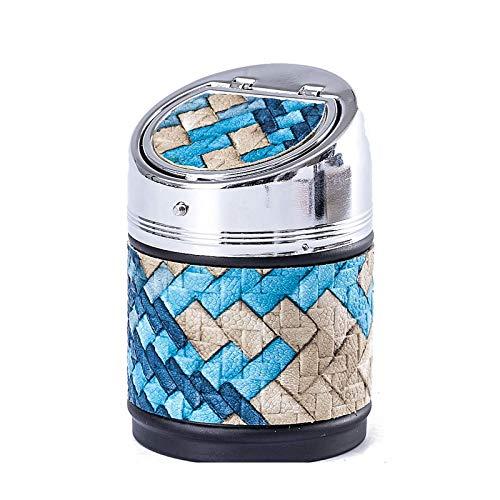 TEAYASON Cenicero Portátil Anti Fly Ash Coche Grande Y Pequeño Acero Inoxidable Creativo con Tapa Opciones Multicolores para Coche Oficina en Casa,S Azul