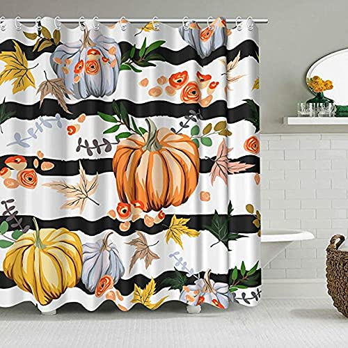 Duschvorhang Badewanne Herbst Thanksgiving Duschvorhang Orange Kürbis Wasserdicht Stoff Blumenblatt Bauernhaus Für Moderne Home Badezimmer Dekoration
