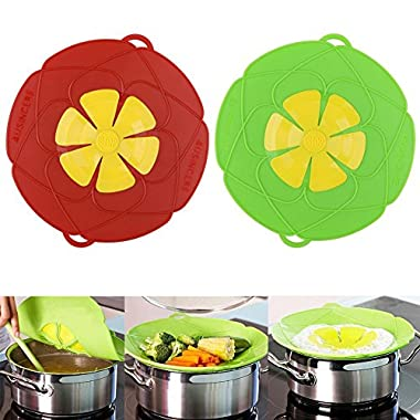 AuSincere 2 X Spill Stopper Lid Cover And Spill Stopper, Boil Over Safeguard,Silicone Spill Stopper Pot Pan Lid Multi-Function Kitchen Tool (Green And Red)