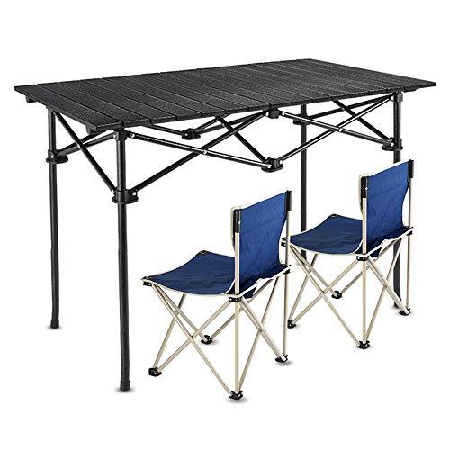 JIADUOBAO Mesa plegable de tamaño grande, portátil, mesa de camping con sillas, resistente, mesa de picnic portátil para acampar al aire libre, barbacoa, fiesta, picnic (color azul marino)
