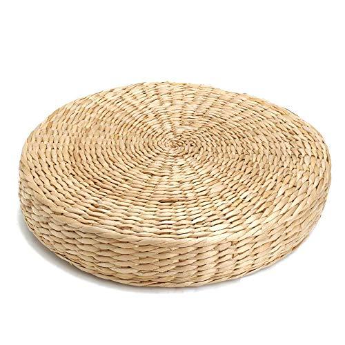 WHOHO Straw Cushion Tatami Floor Cushion, Handmade Eco-Friendly Knitted Straw Flat Cushion, Used For Meditation, Zen, Yoga Practice.