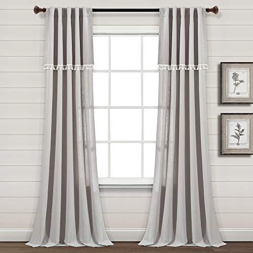 "Lush Decor Ivy Tassel Faux Linen Window Curtain Panel Pair, 84"" x 40"", Light Gray"