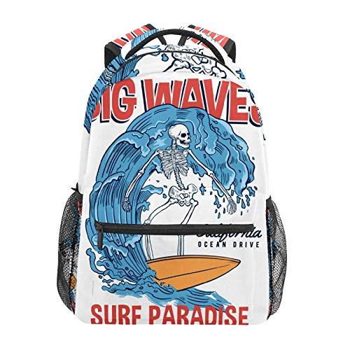 Mochila escolar divertida con diseño de calavera y esqueleto, surf, olas grandes, casual, viajes, portátil, lona, para mujeres, niñas, niños, estudiantes, hombres y adultos.