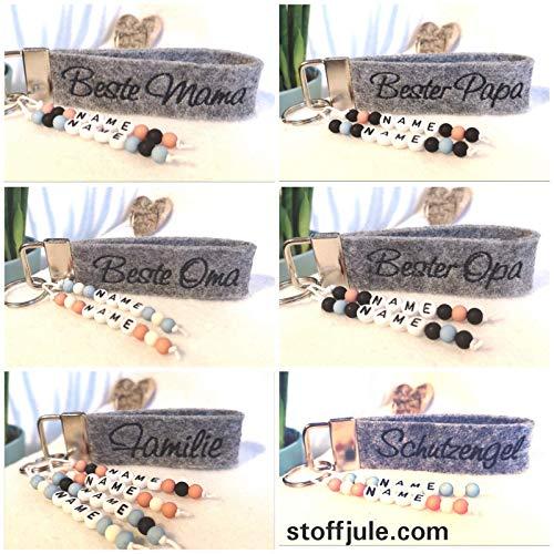 StoffJuLe Schlüsselanhänger mit Name personalisiert aus Filz - Bester Papa - Beste Mama- Mama/Oma/Opa - Geschenk - Glücksbringer Erzieherin - Lehrerin