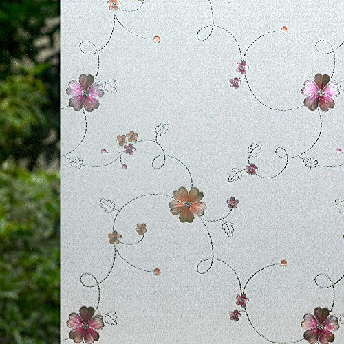 VSUDO 2 Rolls 35.4' by 78.7' Static Cling Window Film for Privacy, Plum Blossom Pattern Window Tint for Home, Window Glass Sticker for Office (38.75 Sq. Ft Total)