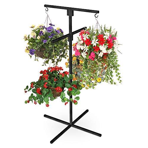 Blumen Blumenampel Bildschirm Ständer Terrasse Pflanzgefäß Cascade Heim Garten Zentrum Schwerlast Britisch Hergestellt - Schwarz Pulver Mantel, 4 Arm Version