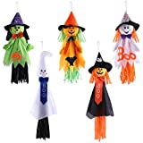 Aneco 5 Pack Halloween Hanging Decoration Scarecrow Pumpkin Ghost Hanging Decoration Trick or Treat Hanging Decoration, Assorted Sizes 18.9 and 25.2 Inches