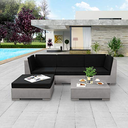 Namotu vidaXL 5-TLG. Conjunto de salón de jardín con Cojines de hormigón Gris.