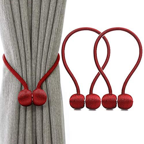 IHClink Magnetische Raffhalter zum Anklemmen von für Vorhänge, Krawatte Band Zuhause Büro Dekorative Vorhänge Weben Holdbacks Halter 2 Stück Rot (EU patent 004522746-0001)
