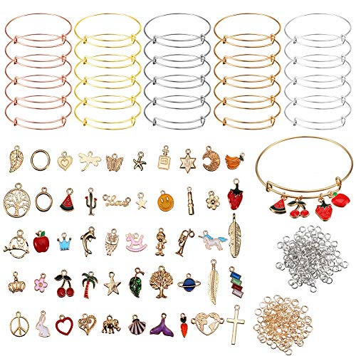 142 Pcs Expandable Bangle Bracelets Stainless Steel Adjustable Wire Blank Bangles with 50 Pieces Gold Charm Pendants and 200 Pieces Open Rings for DIY Jewelry Making