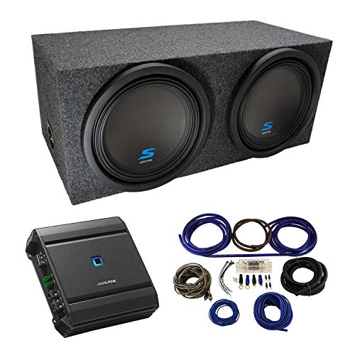 """Universal Car Stereo Rearfire Sealed Dual 12"""" Alpine Type S S-W12D2 Sub Box Enclosure with S-A60M Amplifier & 4GA Amp Kit"""