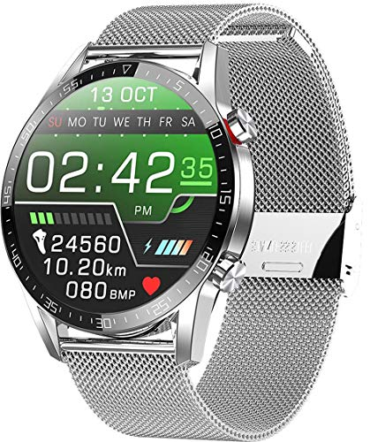 jpantech Smartwatch Voll Touch Screen IP68 Damen Herren Intelligente Uhren Sport | Bluetooth-Anruf | EKG-Überwachung Tracker Pulsuhr Schrittzähler Blutdruckmessung Wasserdicht IOS Android(StahlSilber)