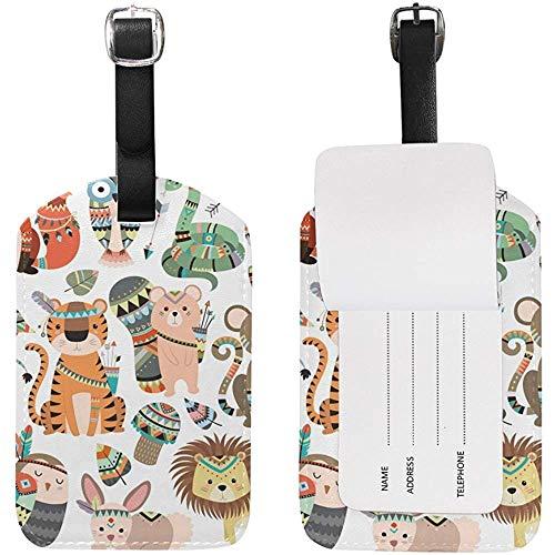 Woodland Jungle Tribal Animals Kofferanhänger Leder für Gepäck Koffer 2 Stück