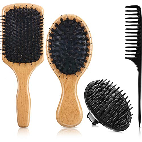 Boar Bristle Hair Brush and Comb Set, Includes 2 Wooden Paddle Hairbrush...