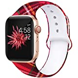 Kaome Floral Bands Compatible with App le Watch Band 42mm 44mm, Soft Silicone Fadeless Pattern Printed Replacement Strap Bands for Women, Compatible with iWatch Series 5/4/3/2/1, S/M