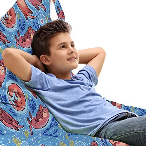 Preisvergleich Produktbild ABAKUHAUS Kinder-Gärtnerei Unicorn Spielzeugtasche Liegestuhl Lounger Stuhl,  Cartoon Otter Algen,  Hochleistungskuscheltieraufbewahrung mit Griff,  Mehrfarbig