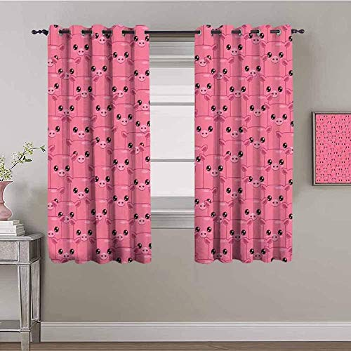 LucaSng Blackout Curtain Thermal Insulated - Pink cartoon cute pig - 63x63 inch - for Bedroom Kitchen Living Room Boy Girl Window - 3D Digital Printing Eyelet Ring Curtain