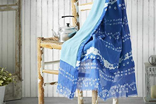 Burrito Blanco Pareo para Playa 197 | Toalla Pareo con Diseño Estampado de Tai Dai de Cenefas Algodón 100% con Reverso de Rizo con Microfibra de 90x165 cm, Color Azul