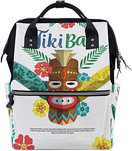 Bookbag Ethisch Tiki-masker met planten, stijlvolle, grotere capaciteit, papa moer, luiertas, mummierugzak, babydraagtassen, verzorging, mummietas, waterdichte rei